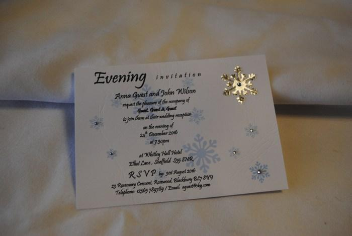 Snowflake single mounted evening invitation