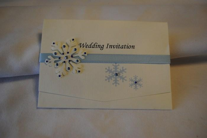 Snowflake pocket fold wedding day invitation