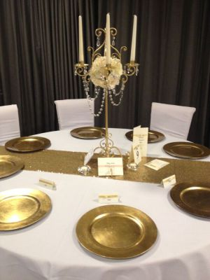 Gold sequin table runner hire