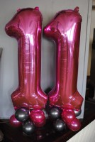 Foil Numbers - 11 in pink on columns