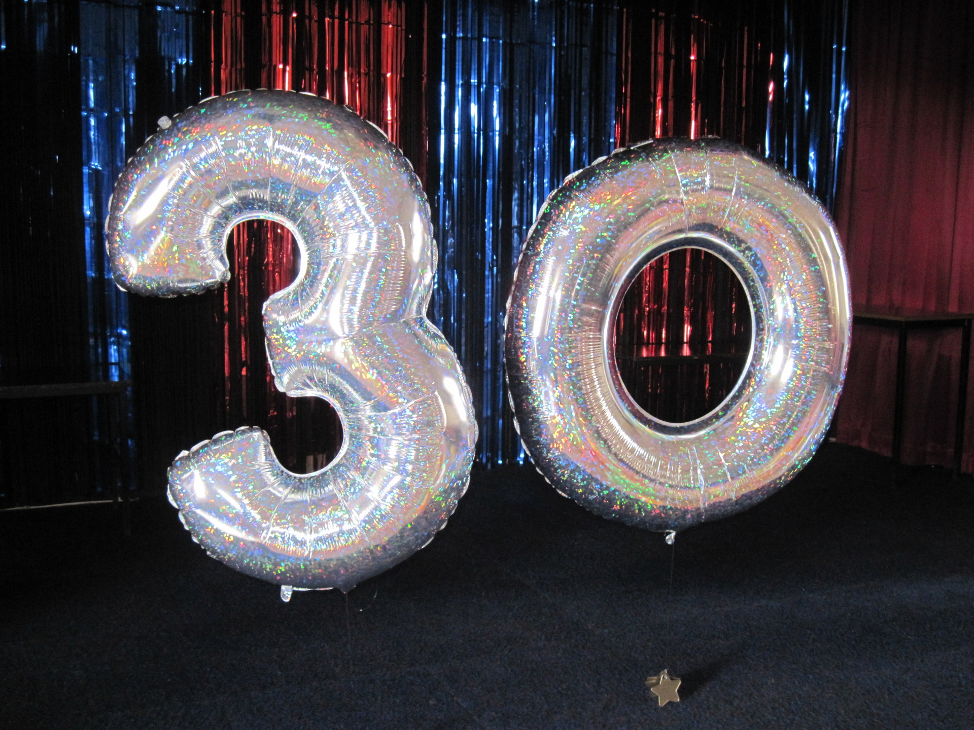 Foil Numbers - 30 in holgraphic silver