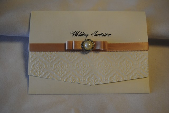 Pocket Fold Invitation in Dior bow with embellishment