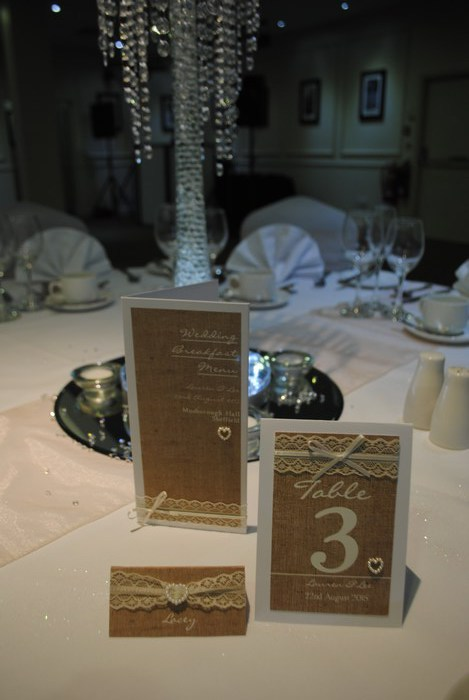 Burlap & Lace menu, table number, name card