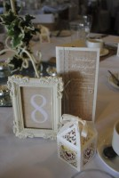 Burlap & Lace Framed Table Number