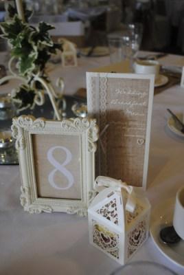 Burlap & Lace Menu & Framed table number