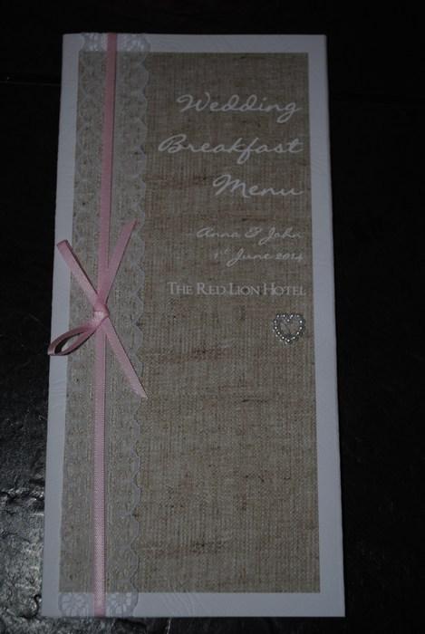 Burlap & Lace, menu