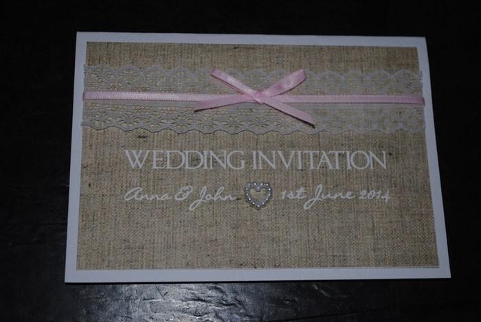 Burlap & Lace, standard wedding invitation