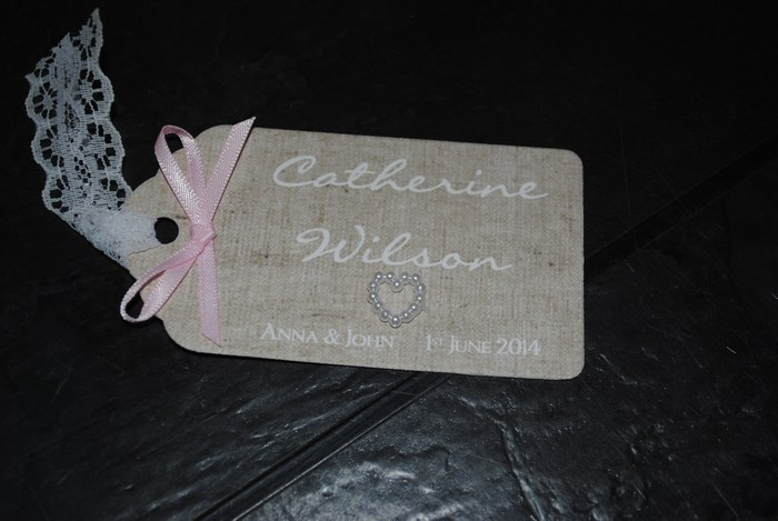Burlap and lace luggage tag name card