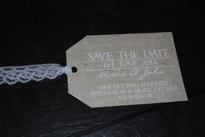 Burlap & Lace, save the date luggage name card