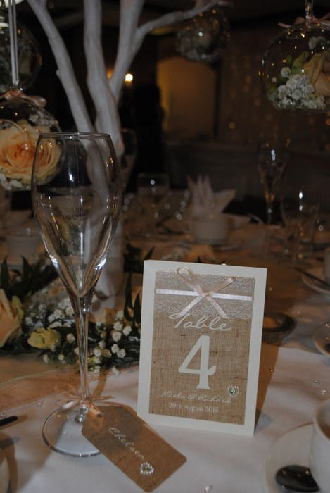 Burlap & Lace, table number & luggage tag name card