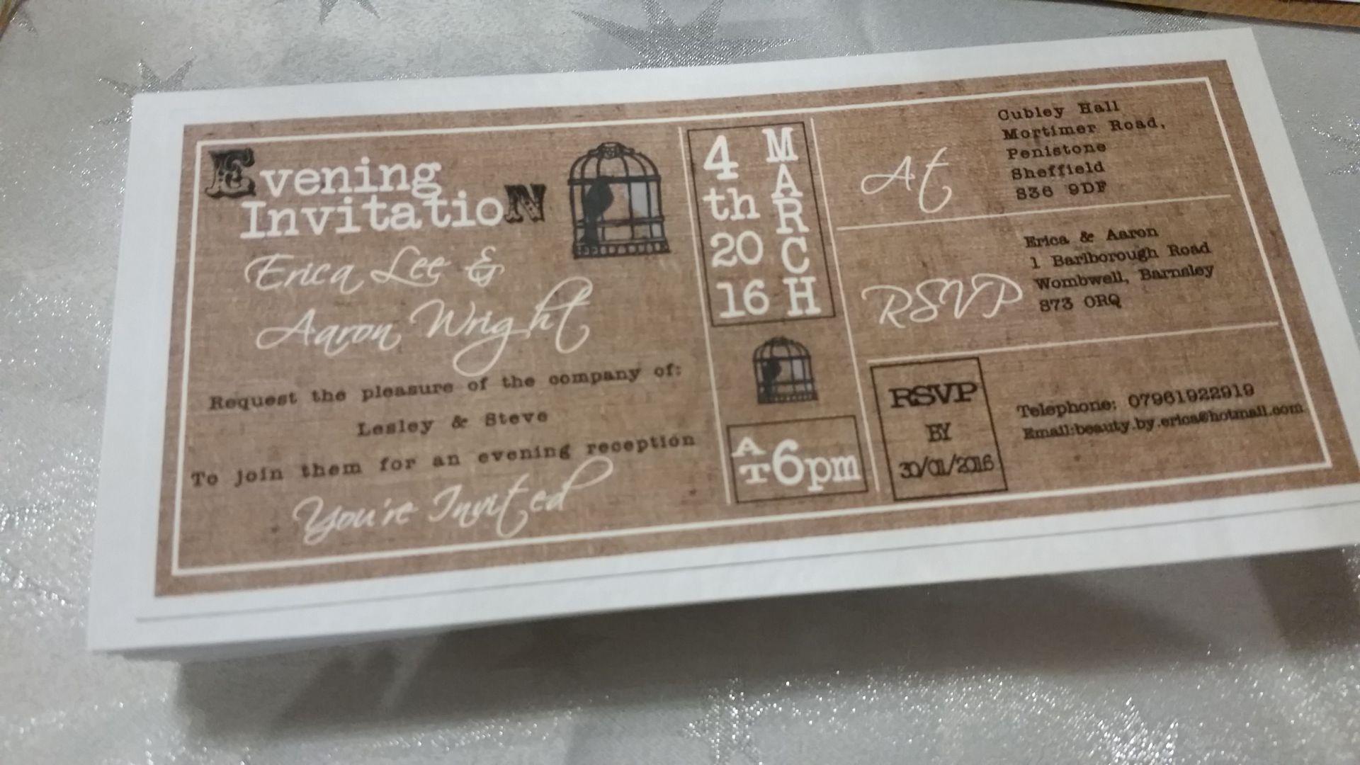 Hessian & Twine brown DL wedding invitation