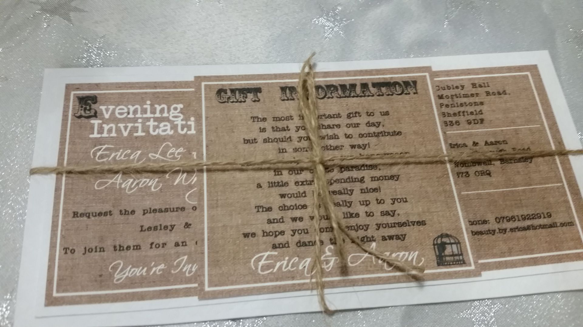 Hessian & twine wedding invitations