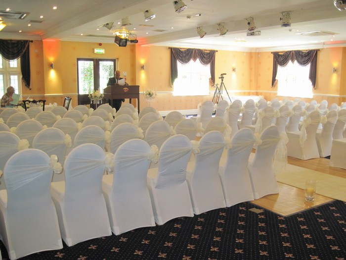 Organza chair cover sash hire