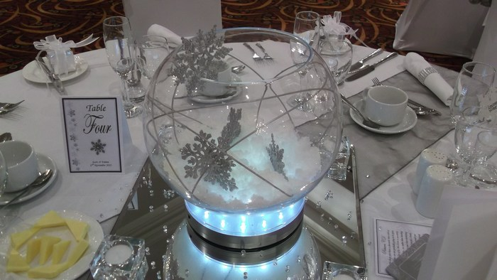 Large fishbowl with fake snow, silver snowflake and silver canes