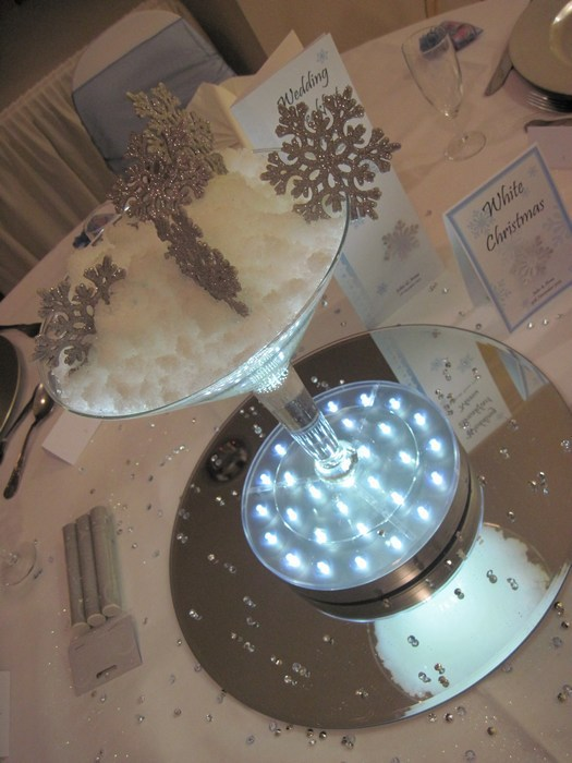 Small Martini with fake snow and silver snowflakes