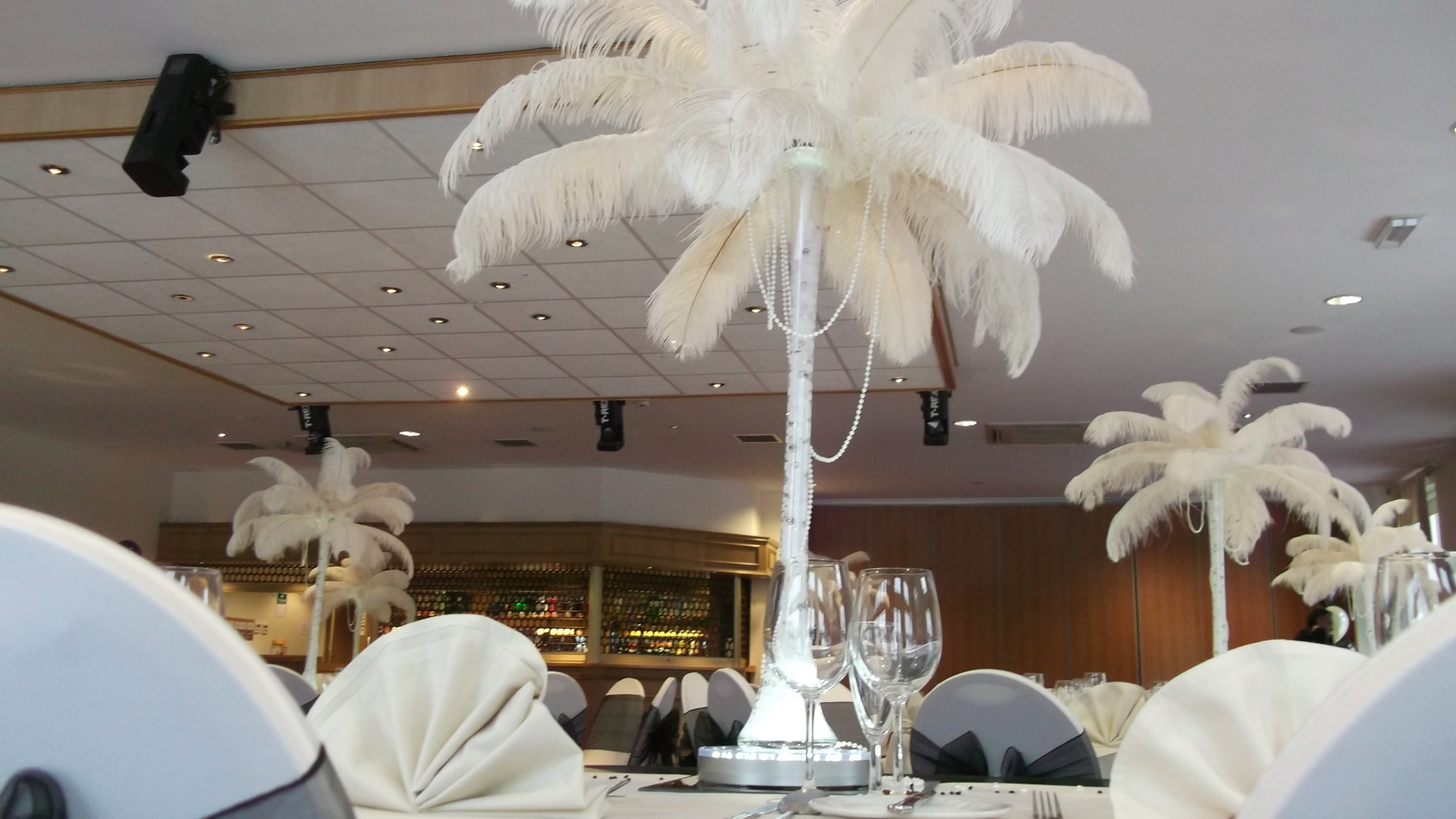 Ostrich feathers with draped pearls