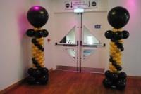 Balloon Column with black 3ft topper & mini balloons, black & gold