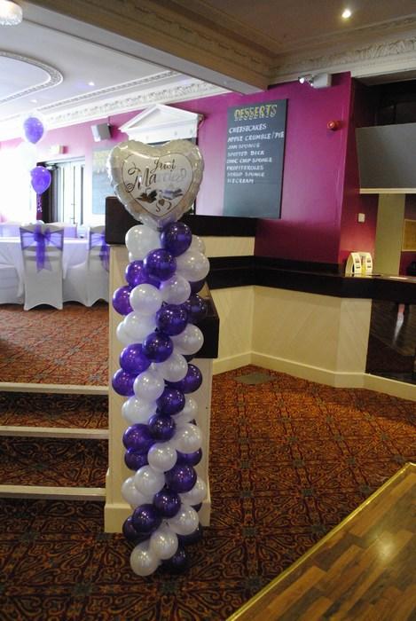 Balloon Column with small silver heart topper & mini balloons, cadbury & silver
