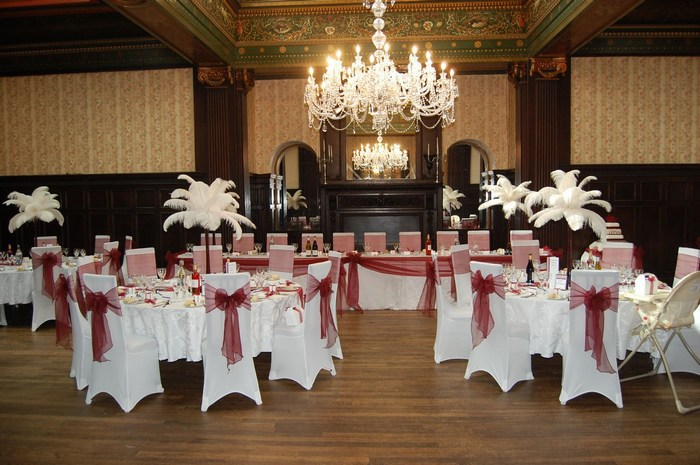Ostrich feather Centrepieces with Burgundy Stems
