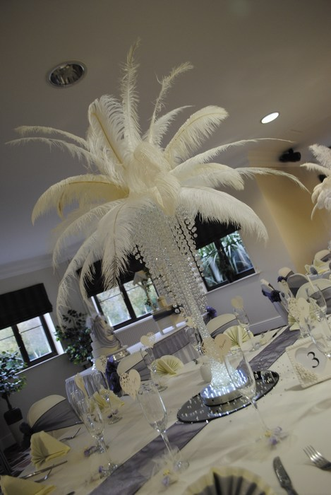 Ostrich feather Centrepieces with Crystal Skirts