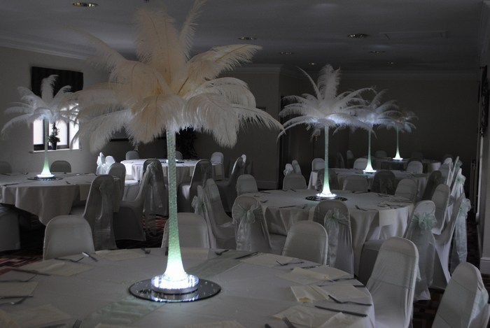 Ostrich feather Centrepieces with Ivory Feathers Mint Green Stems