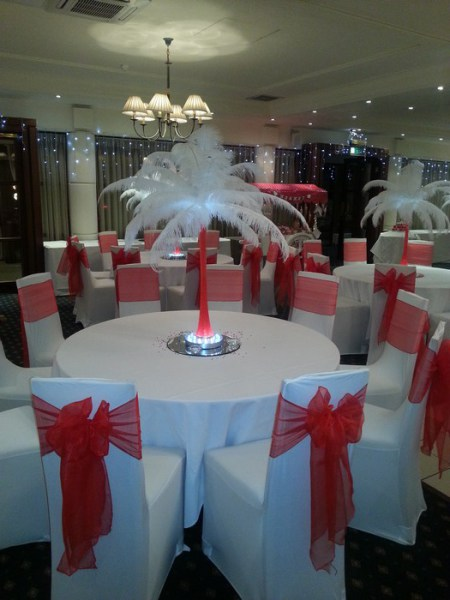 Ostrich feather Centrepieces with Red Stems