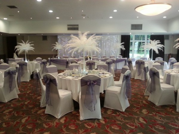 Ostrich Feather Centrepieces with White Feathers
