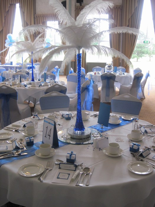 Ostrich Feather Centrepieces with Royal Blue Stems