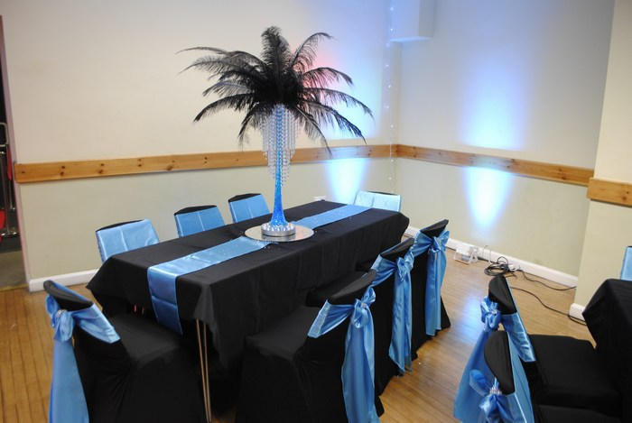 Ostrich Feather Centrepieces with Black Feather Aqua Stems