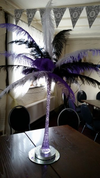 Ostrich Feather Centrepieces black, purple & white mixed feather