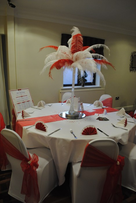 Ostrich Feather Centrepieces with White & Red Feathers