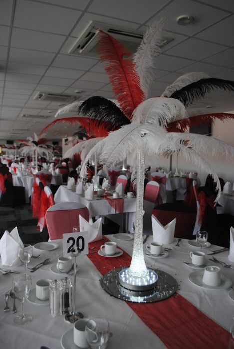 Ostrich Feather Centrepieces with Red, Black & White Feathers