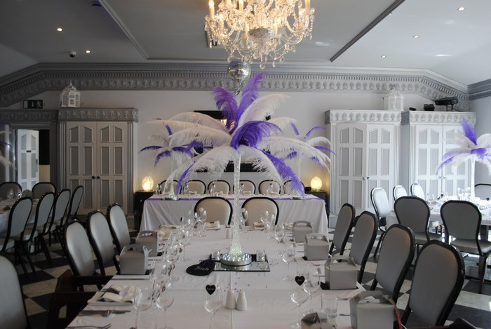 Ostrich Feather Centrepieces with Purple & White Mixed Feathers