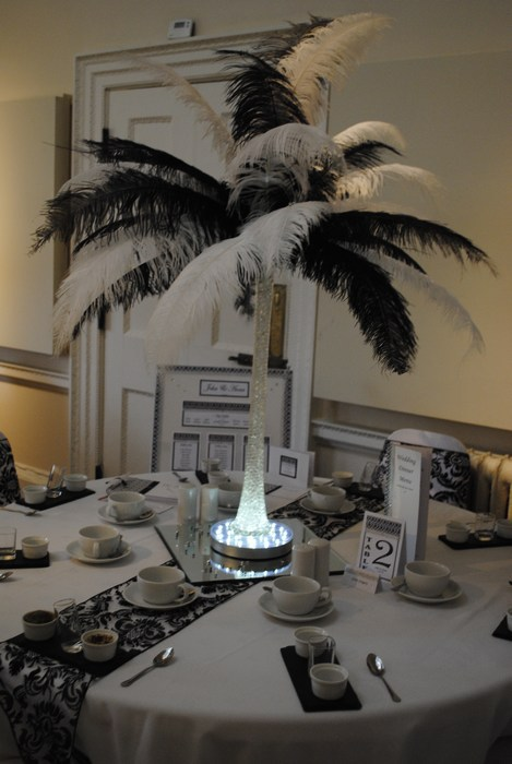 Ostrich Feather Centrepieces with Black & White Mixed Feathers
