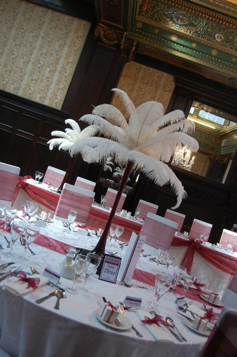 Ostrich Feather Centrepieces with Ivory Feathers & Burgundy Stems