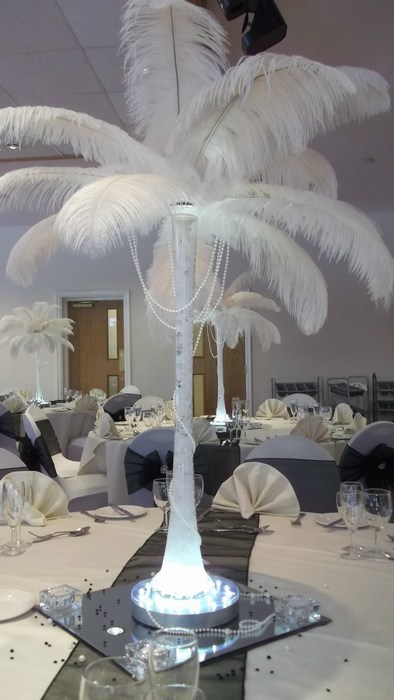 Ostrich Feather Centrepieces with Ivory Feathers & Draped Pearls