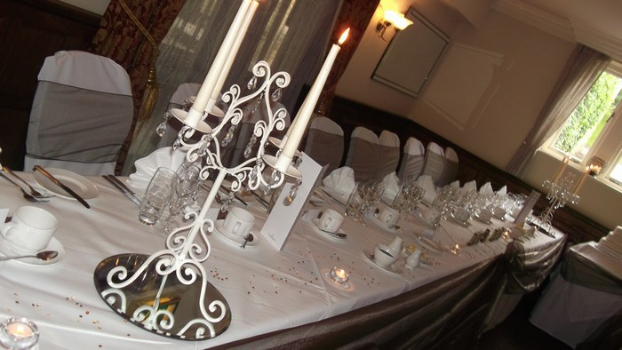 Cream Short Candelabra on top table