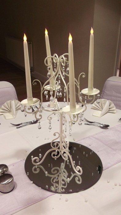 Cream Short Candelabra with LED Candles