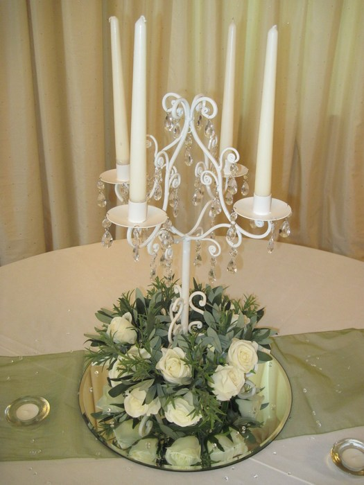 Cream Short Candelabra with cream rose ring