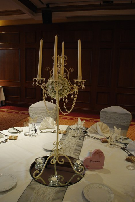 Tall Vintage Ivory Candelabra with fresh Gyp & draped pearls