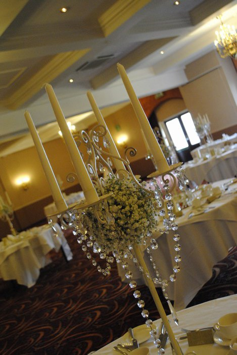 Tall Vintage Ivory Candelabra with fresh gyp & draped diamante garlands
