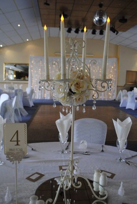 Tall Vintage Ivory Candelabra with artificial cream roses & LED candles