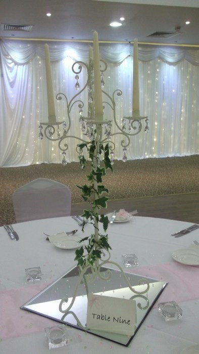 Tall Vintage Ivory Candelabra with artificial Ivy £20 each