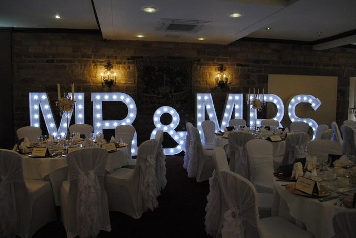5ft LED Mr & Mrs letter hire