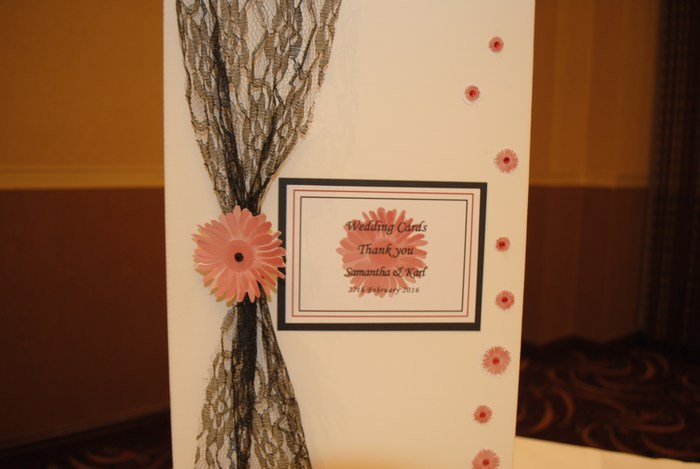 Gerbera Groove wedding card post box, close view