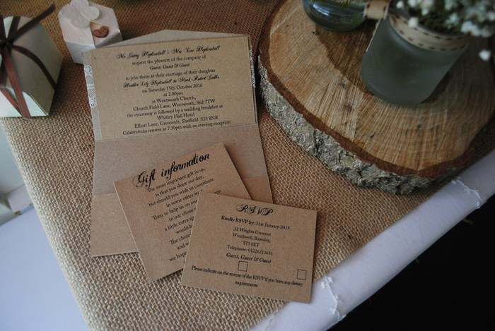 Pocket Fold Invitation in Rustic Brown & Lace Card