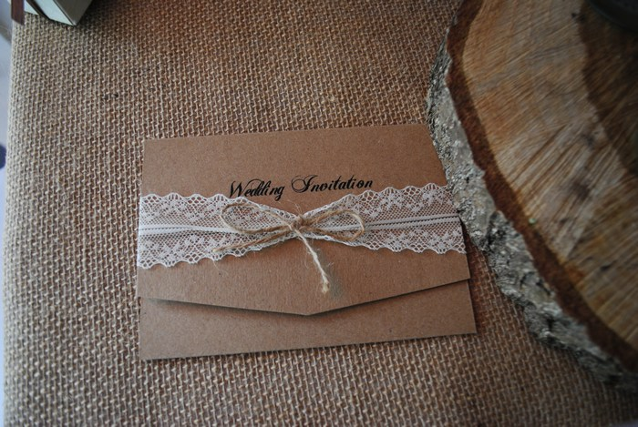 Brown card & lace wedding day invitation