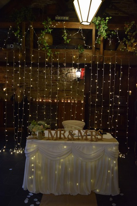 Civil ceremony fairy light curtain