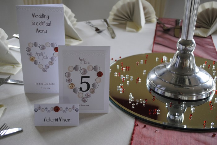 Beau Button wedding table stationery