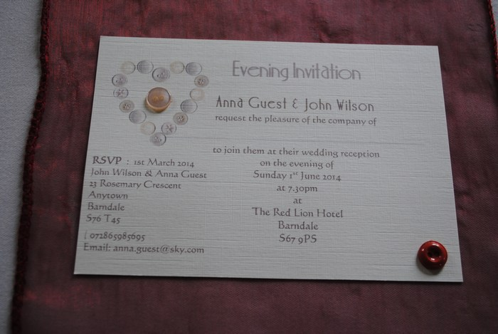 Beau Button single mounted evening invitation
